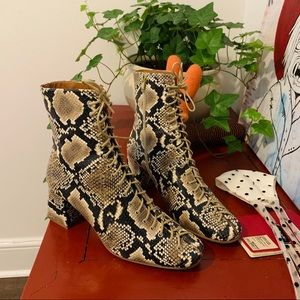 BY FAR Snakeskin Lace Up Boots 🐍